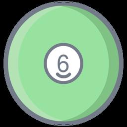 Bola seis círculo plano