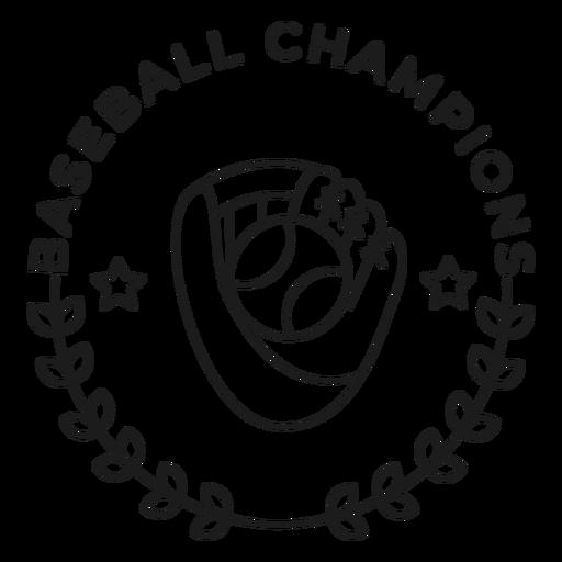 Baseball champions glove ball star branch badge stroke Transparent PNG