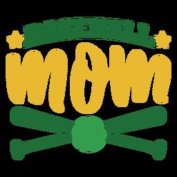 Etiqueta engomada de la insignia de la estrella de la bola del palo de la mamá del béisbol