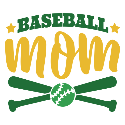 Baseball mom bat ball star badge sticker Transparent PNG