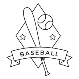 Baseball ball star rhomb bat badge stroke