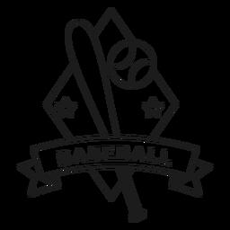 Bola de béisbol estrella rombo bate insignia insignia golpe