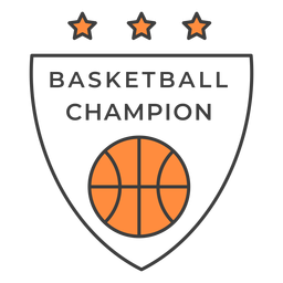 Basketball champion ball star color badge sticker