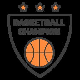 Etiqueta do emblema da cor da estrela da bola do campeão do basquetebol
