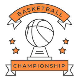 Basketball championship ball star color badge sticker