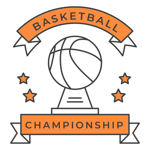 Basketball championship ball star color badge sticker Transparent PNG
