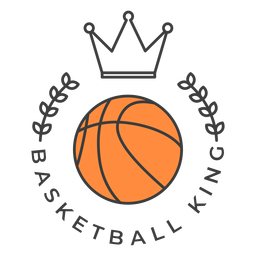 Basketball king ball branch colored badge sticker