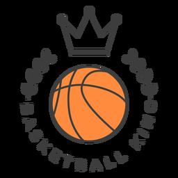 Etiqueta engomada coloreada insignia de la rama de la corona de la bola del rey del baloncesto