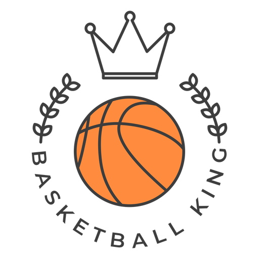 Basketball king ball crown branch colored badge sticker Transparent PNG