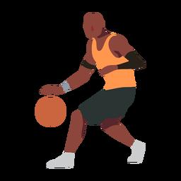 Jogador de basquete bola jogador shorts acessório t camisa calva plana