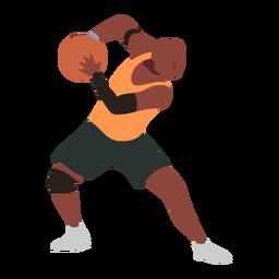 Basketball-Spieler-Ballspieler schließt zusätzliches T-Shirt flach kurz