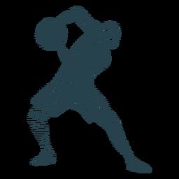 Baloncesto jugador pelota jugador pantalones cortos camiseta calva silueta a rayas