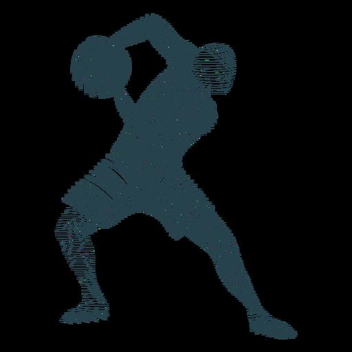 Baloncesto jugador pelota jugador pantalones cortos camiseta calva silueta a rayas Transparent PNG