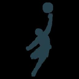 Baloncesto jugador pelota jugador pantalones cortos camiseta calva tiro silueta rayada
