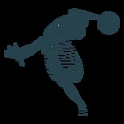 Jogador de basquete bola jogador shorts camiseta dedo palma silhueta listrada