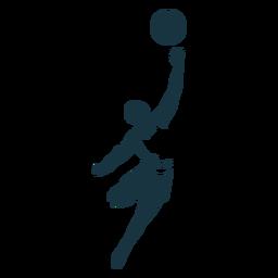Basketball-Spieler-Ballspieler schließt T-Shirt Wurf ausführliches Schattenbild kurz