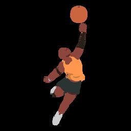 Jogador de basquete jogador bola shorts jogar acessório camiseta plana