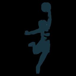 Ausführliches Schattenbild des zusätzlichen T-Shirts des weiblichen Ballspielers des Basketballspielers kurzen Hosen