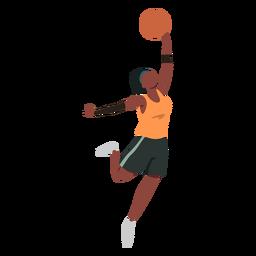 Jogador de basquete feminino bola jogador shorts acessório camiseta plana