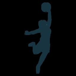 Jugador de baloncesto femenino pelota jugador pantalones cortos camiseta silueta