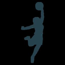 Jugador de baloncesto femenino pelota jugador pantalones cortos camiseta a rayas silueta