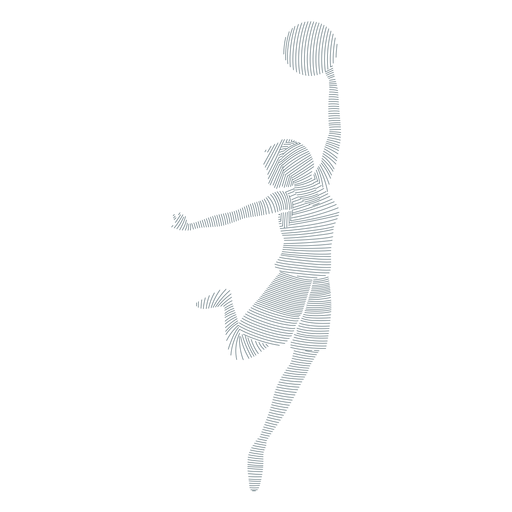 Basketball player female ball player shorts t shirt striped silhouette Transparent PNG
