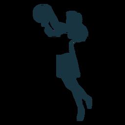 Jugador de básquetbol femenino pelo pelota jugador pantalones cortos accesorio camiseta detallada silueta