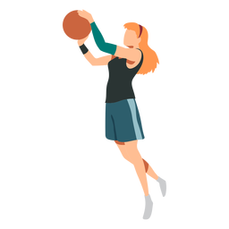 Jugador de básquetbol femenino pelo pelota jugador pantalones cortos accesorio camiseta plana