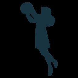 Haarball-Spieler des Basketball-Spielers schließt weibliches T-Shirt Schattenbild kurz