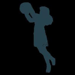 Jugador de baloncesto mujer pelo bola jugador pantalones cortos camiseta a rayas silueta