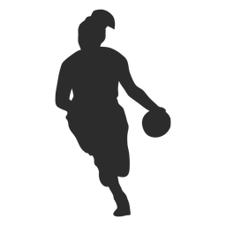 Basketball player female player ball hair ponytail silhouette
