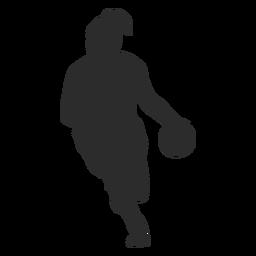 Jogador de basquete jogador feminino bola cabelo rabo de cavalo silhueta
