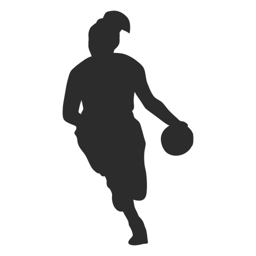 Basketball player female player ball hair ponytail silhouette Transparent PNG