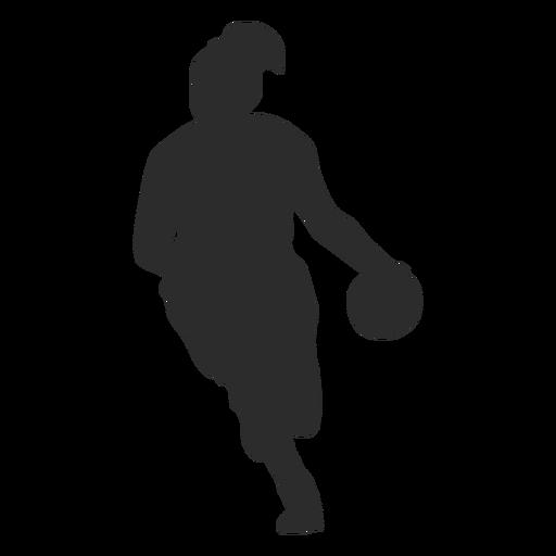 Basketball player female player ball hair ponytail silhouette