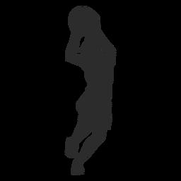 Baloncesto jugador femenino jugador pelota cortos cabello cola de caballo silueta