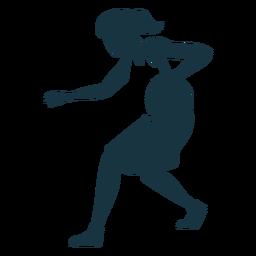 Jogador de basquete feminino correndo bola jogador cabelo gravata shorts acessório camiseta silhueta detalhada