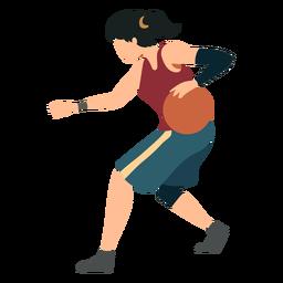 Jogador de basquete feminino correndo bola jogador cabelo gravata shorts acessório camiseta plana