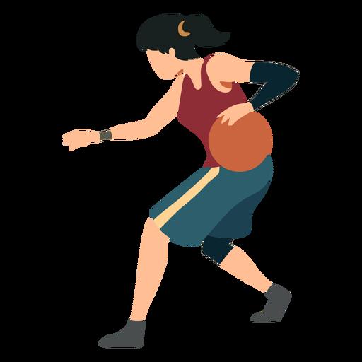 Jugador de baloncesto mujer corriendo pelota jugador pelo corbata pantalones cortos accesorio camiseta plana Transparent PNG