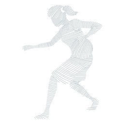 Jogador de basquete feminino correndo bola jogador cabelo gravata shorts acessório camiseta silhueta listrada