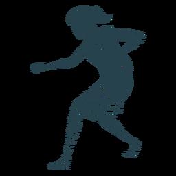 Jugador de baloncesto mujer corriendo pelota jugador pelo corbata corta accesorio camiseta a rayas silueta