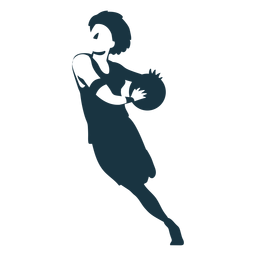 Basketball player female running ball player outfit detailed silhouette