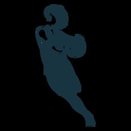 Jugador de baloncesto femenino corriendo pelota jugador traje detallado silueta