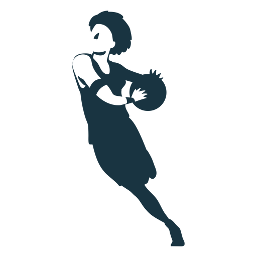 Basketball player female running ball player outfit detailed silhouette Transparent PNG