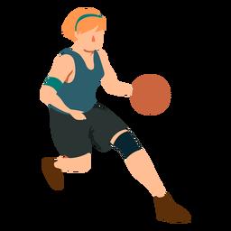 Jogador de basquete feminino executando bola jogador roupa plana