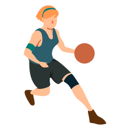 Jugador de baloncesto mujer corriendo pelota jugador traje plano