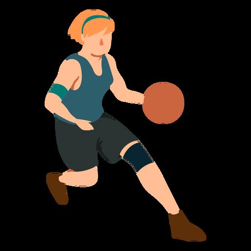 Jugador de baloncesto mujer corriendo pelota jugador traje plano Transparent PNG