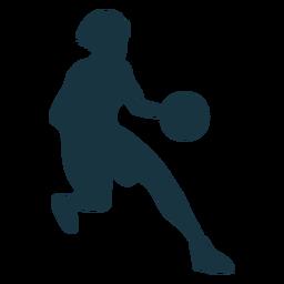 Jogador de basquete feminino executando a silhueta de roupa de jogador de bola