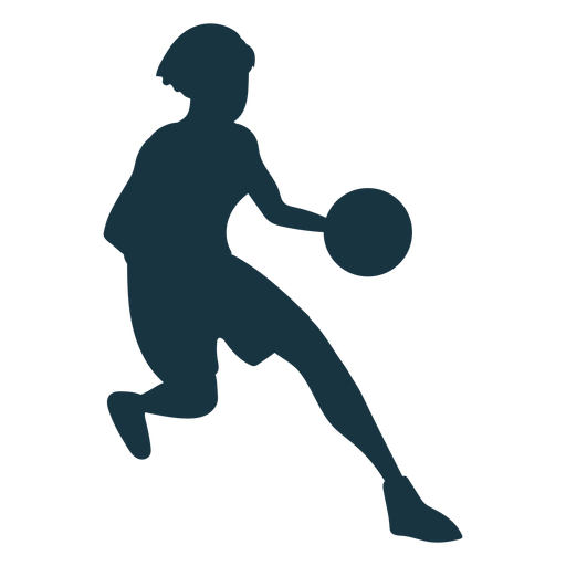 Basketball player female running ball player outfit silhouette Transparent PNG