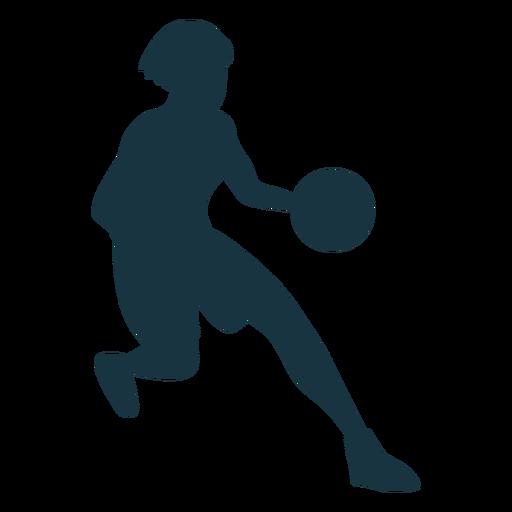 Jugador de baloncesto femenino corriendo pelota jugador traje silueta Transparent PNG