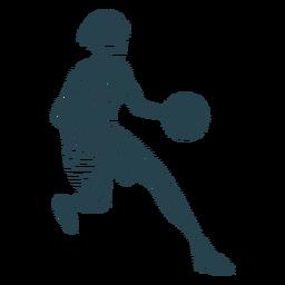 Jugador de baloncesto femenino corriendo pelota jugador traje a rayas silueta